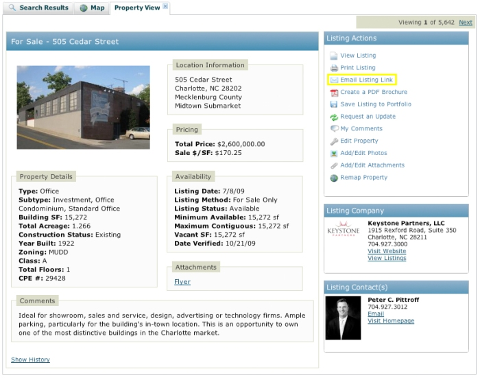 email listing overview commercial property exchange support